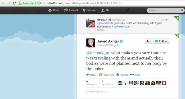 Javed Akhtar on Ishrat